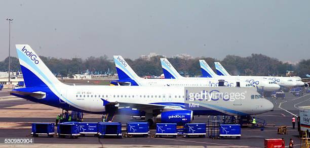 Indigo aircrafts at Indira Gandhi International Airport on March 3 2015 in New Delhi India