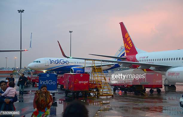 Indigo and Spicejet aircrafts at Indira Gandhi International Airport on March 3 2015 in New Delhi India
