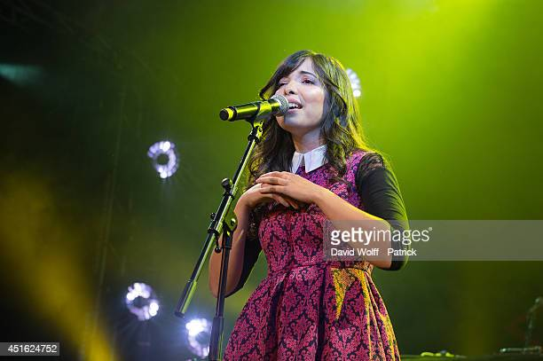 Indila performs during Orange RockCorps at Le Trianon on July 2, 2014 in Paris, France.