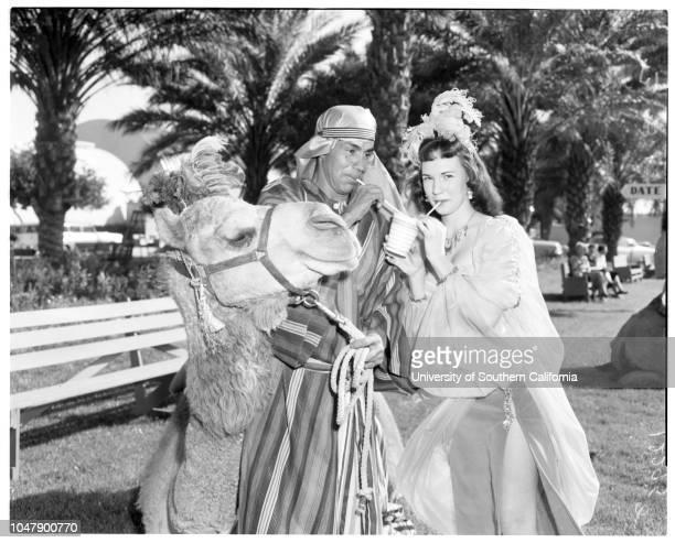 Indio date festival, 13 February 1958. Phyllis Smilen -- 16 years;Vera Williams -- 17 years;Paulette Adams -- 16 years;Annah Lee La Baw;Arthur...