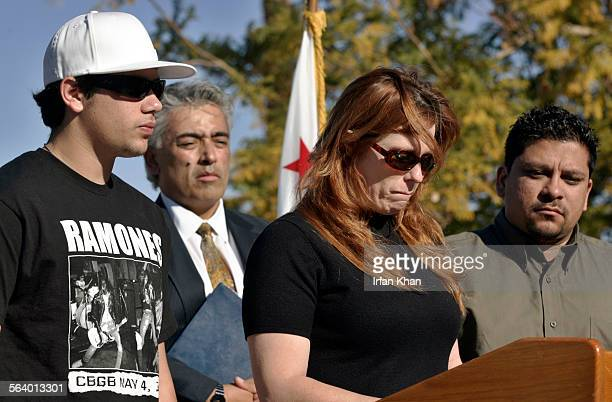 Indio Jan 18 2006 Remembering her dead son Diane Lynn Gonzales center tries to hold back her emotions as she speaks at a press conference in Indio on...