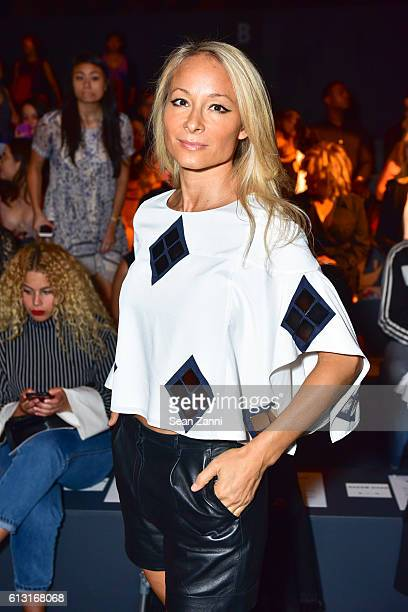 Indira Cesarine attends Naeem Khan Front Row September 2016 New York Fashion Week The Shows at The Arc Skylight at Moynihan Station on September 14...