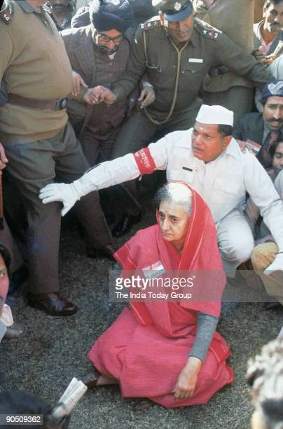 Indira Gandhi former Prime Minister of India at Dharna in New Delhi India