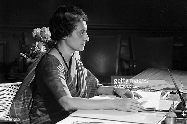 Indira Gandhi Head Of Government Of India En Inde à Dehli le 9 février 1966 portrait de profil du premier ministre de l'Union indienne Indira GANDHI...
