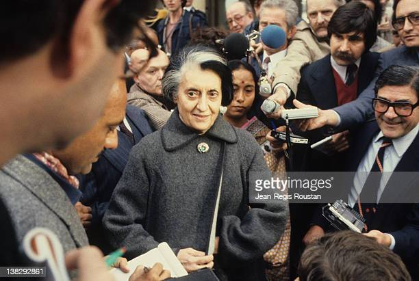 Indira Gandhi Indian Prime Minister during an official visit in France Paris 1981