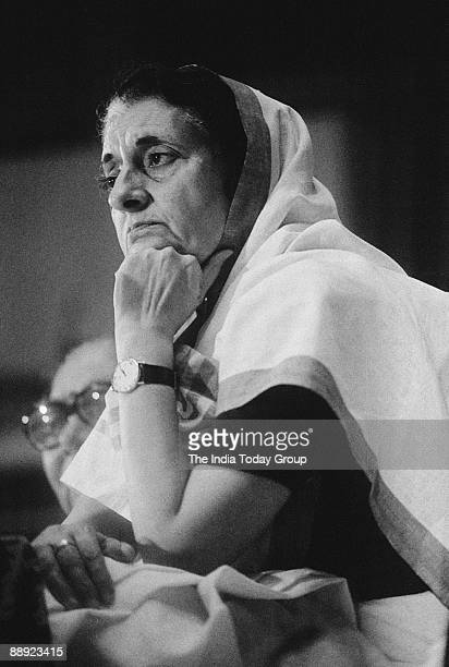 Indira Gandhi Prime Minister of India at All India Congress Committee meeting in Delhi