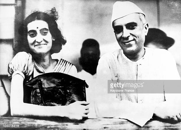 Indira GANDHI with her father Pandit Jawaharlal NEHRU in Allahabad India around 1940