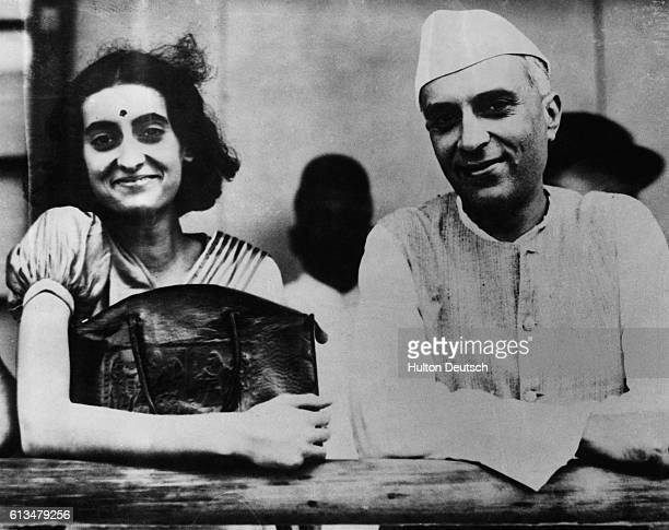 Indira Nehru with her father Pandit Jawaharlal Nehru President of the Indian Congress before she left Bombay for England to study at Oxford University