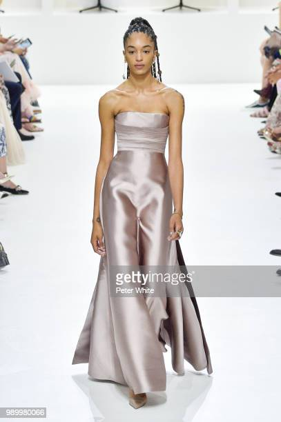 Indira Scott walks the runway during the Christian Dior Haute Couture Fall Winter 2018/2019 show as part of Paris Fashion Week on July 2 2018 in...