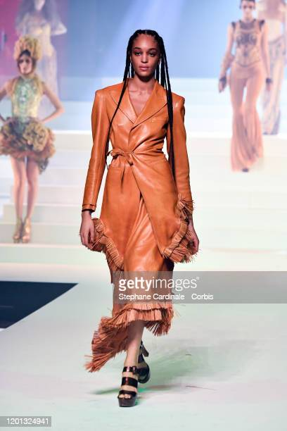 Indira Scott walks the runway during the JeanPaul Gaultier Haute Couture Spring/Summer 2020 show as part of Paris Fashion Week at Theatre Du Chatelet...