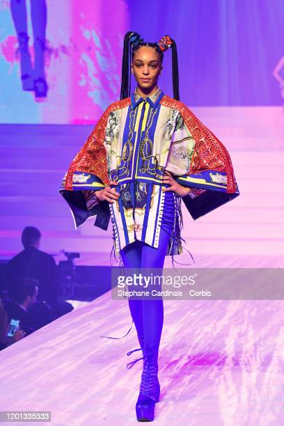 Indira Scott walks the runway during the Jean-Paul Gaultier Haute Couture Spring/Summer 2020 show as part of Paris Fashion Week at Theatre Du...