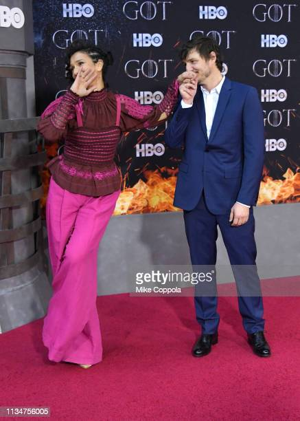 Indira Varma and Pedro Pascal attend the Game Of Thrones season 8 premiere on April 3 2019 in New York City