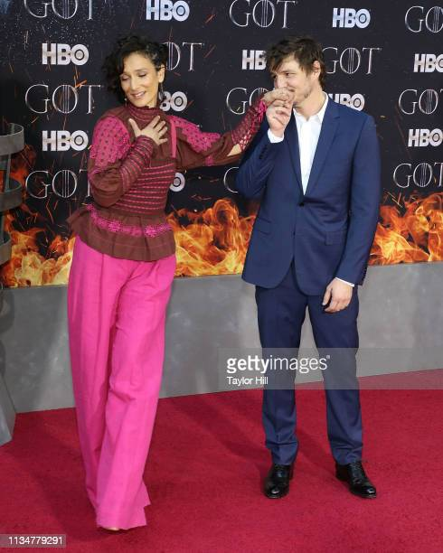 Indira Varma and Pedro Pascal attend the premiere of Game of Thrones at Radio City Music Hall on April 3 2019 in New York City
