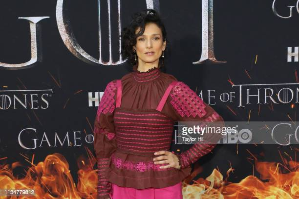 Indira Varma attends the Season 8 premiere of Game of Thrones at Radio City Music Hall on April 3 2019 in New York City