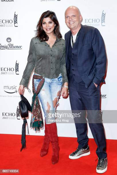 Indira Weis and guest attend the Echo award red carpet on April 6 2017 in Berlin Germany