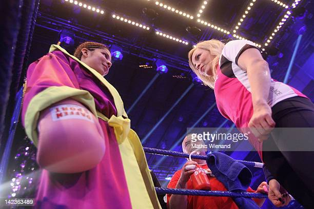 Indira Weiss and her coach Regina Halmich attends the 'Das Grosse ProSieben Promiboxen' champion with trainer Regina Halmich at Castello on March 31...