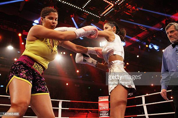 Indira Weiss fights with Micaela Schaefer for the 'Das Grosse ProSieben Promiboxen' champion at Castello on March 31 2012 in Duesseldorf Germany