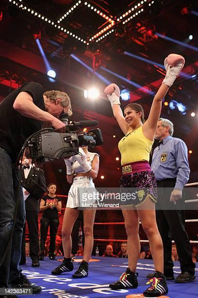 Indira Weiss wins the 'Das Grosse ProSieben Promiboxen' champion at Castello on March 31 2012 in Duesseldorf Germany