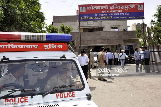 Indirapuram Police station where Vineesh Sharma 30 prime accused in robbery cum CISF double murder case was found dead in the police lockup on April...