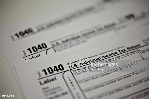 A US Individual Income Tax form 1040 is displayed for a photograph in New York US on Tuesday April 13 2010 The deadline for 2009 tax filing is April...