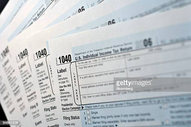 S Individual Income Tax Return form 1040's are displayed for a photograph in Philadelphia Pennsylvania Thursday March 29 2007