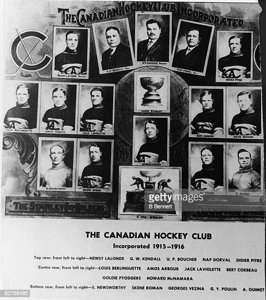 Individual portraits of the Canadian hockey club with the Stanley Cup and O'Brien Cup 1916 Top row from left is Canadian hockey player and captain...