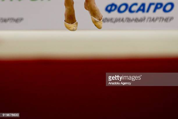 Individual rhythmic gymnast of player performs during the 2018 Moscow Rhythmic Gymnastics Grand Prix GAZPROM Cup in Moscow on February 17 2018