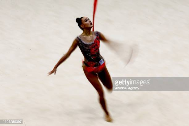 Individual rhythmic gymnast Rebecca Gergalo of Finland performs during the 2019 Alina Kabaeva Gazprom Champions Cup at Moscow's Luzhniki Sports...