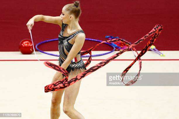 Individual rhythmic gymnast Valerie Romenski of France performs during the 2019 Alina Kabaeva Gazprom Champions Cup at Moscow's Luzhniki Sports...
