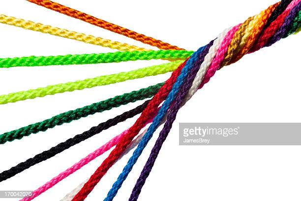 individual strands joining together as team, family, business or network - woven stock photos and pictures