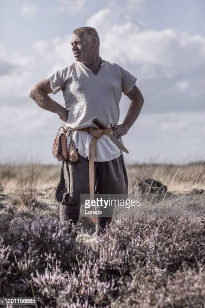 a individual viking warrior in the countryside - historical clothing stock pictures, royalty-free photos & images