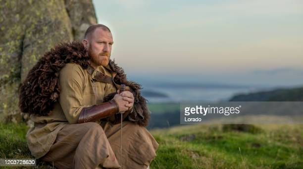 a individual viking warrior in the countryside - northern european stock pictures, royalty-free photos & images