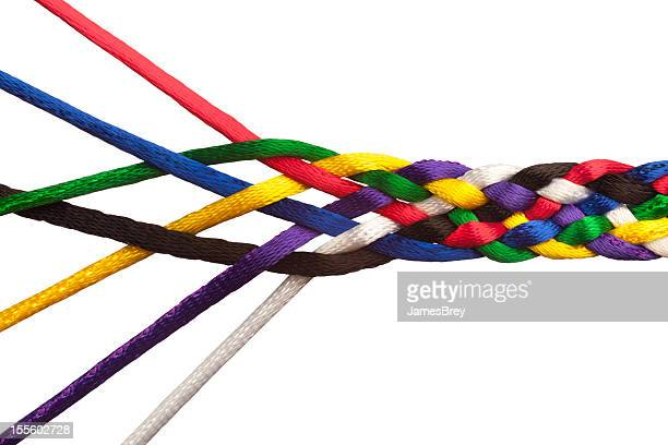 individuals joining together as team, union, family or network - woven stock photos and pictures