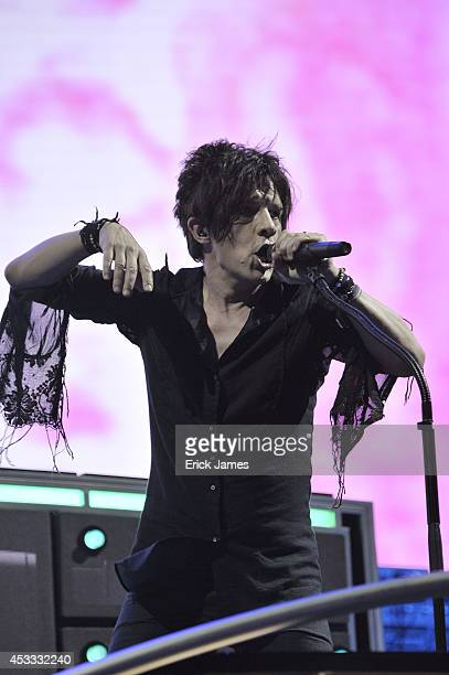 Indochine performs live during the Music Festival des Vieilles Charrues on July 17 2014 in Carhaix France