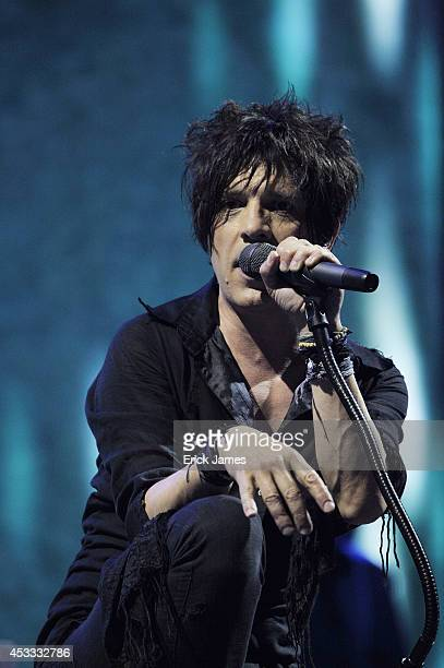 Indochine performs live during the Music Festival des Vieilles Charrues on July 17th 2014 in Carhaix France