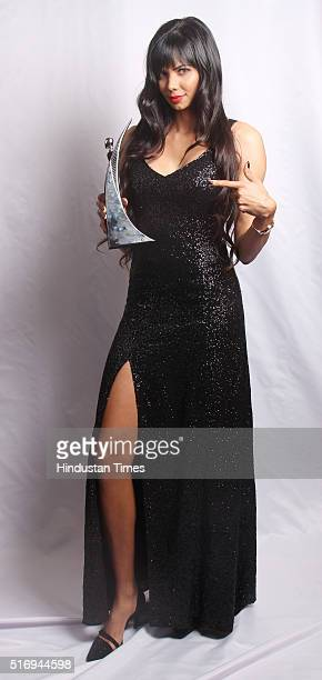 IndoFrench Professional Golfer Sharmila Nicollet poses with Hindustan Times Most Stylish Sports Personality award during Hindustan Times Most Stylish...