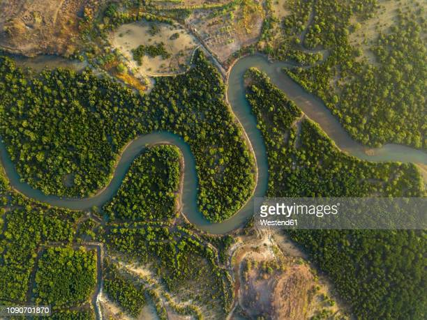 indonesai, lombok, tropical river from above - rivier stockfoto's en -beelden
