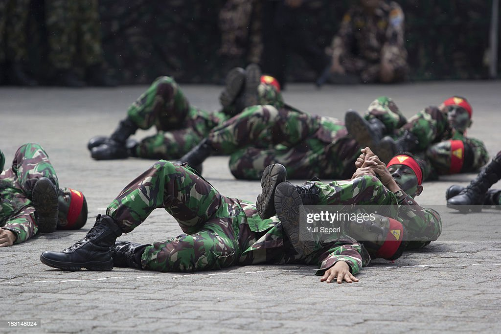 Indonesia army soldiers demonstrate hand-to-hand combat during the 68th anniversary commemoration of the Indonesian Military or TNI on October 5, 2013 in Bintan Island, Indonesia. This year's TNI anniversary was organised under the theme 'Professional, Militate, Solid and Strong TNI-people.'