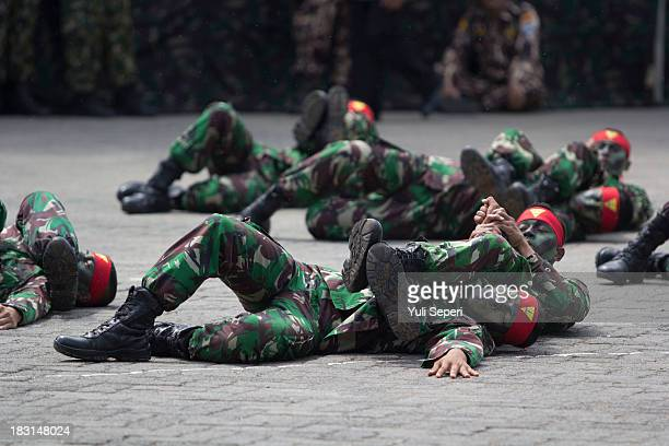 Indonesia army soldiers demonstrate hand-to-hand combat during the 68th anniversary commemoration of the Indonesian Military or TNI on October 5,...