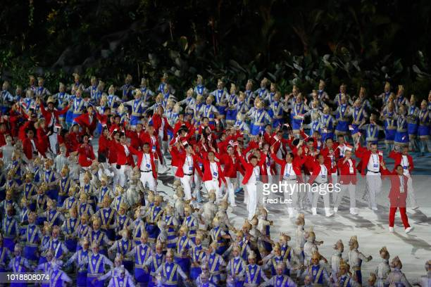Indonesia athletes parade during the opening ceremony of the Asian Games 2018 at Gelora Bung Karno Stadium on August 18 2018 in Jakarta Indonesia