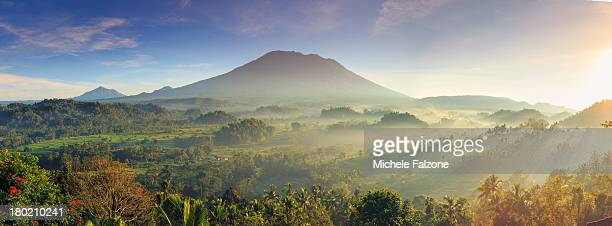 Indonesia, Bali, forest and Gunung Agung Volcano