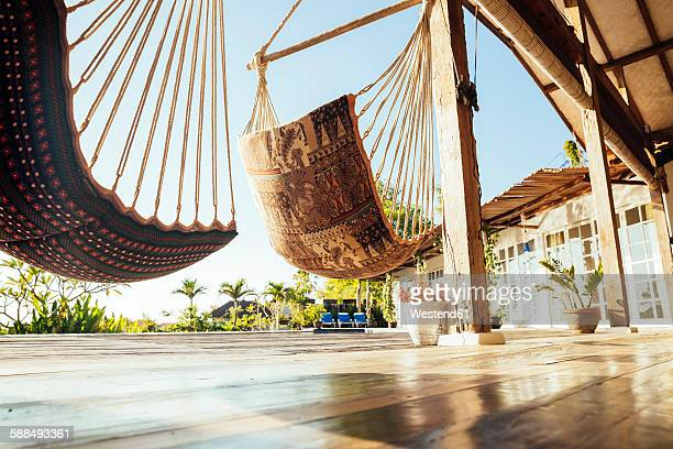 Indonesia, Bali, hammocks on terrace of a holiday villa