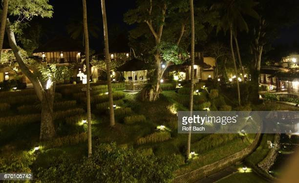 indonesia, bali - island of the gods and spices, hotel complex in ubud at night - ubud district stock pictures, royalty-free photos & images