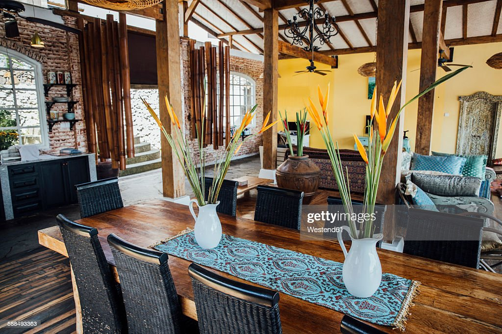 Indonesia, Bali, Living Room With Dining Table In A Holiday Villa