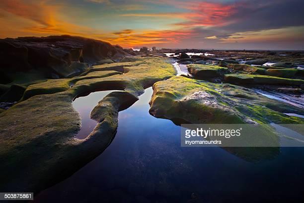 Indonesia, Bali, Mengening Beach, Beautiful rock formation at mengening beach