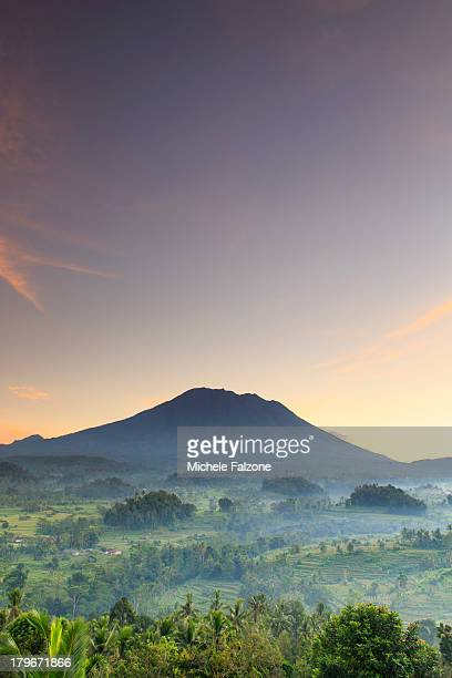 indonesia, bali, rice fields and volcanoes - indonesia stock pictures, royalty-free photos & images