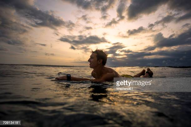 Indonesia, Bali, surfer lying on surfboard at sunset
