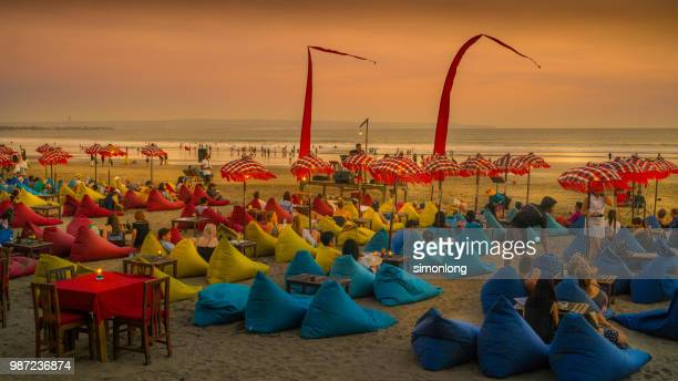 Indonesia, Bali, The Champlung cafe on Legian beach at sunset