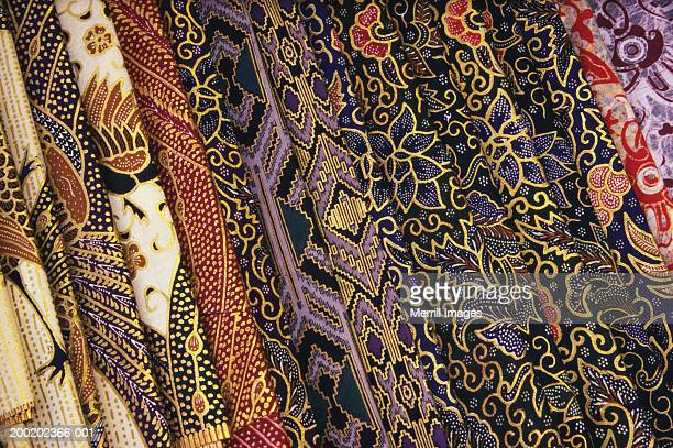 Indonesia, Bali, Ubud, variety of colorful batik cloths