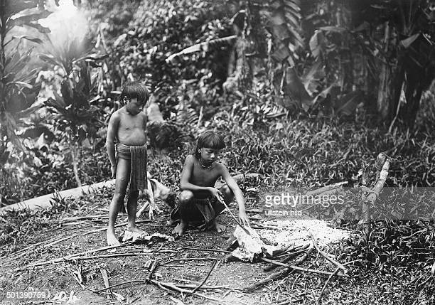 Indonesia Borneo Dayak ethnic group Boys cut a roasted boar piglet probably in the 1910s